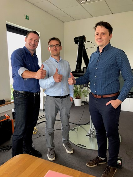 From left to right: Dieter Pletscher, Head of Sales, Kassow Robots.; Rafal Budniok and Dawid Pogoda, Beboq Robotocs